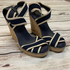 Tory Burch size 9 Blue and Tan Espadrilles Wedges